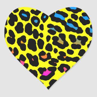 Fläckar för Leopard för Corey tiger80-tal (gult) Hjärtformat Klistermärke