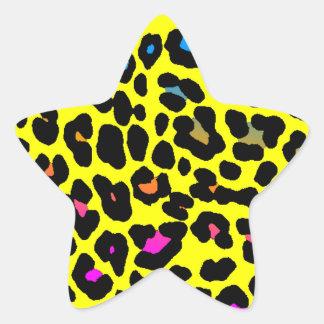 Fläckar för Leopard för Corey tiger80-tal (gult) Stjärnformat Klistermärke
