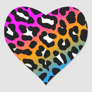 Fläckar för Leopard för Corey tiger80-tal Hjärtformat Klistermärke