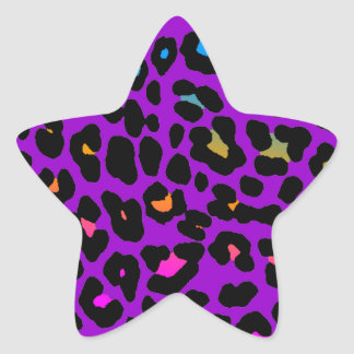Fläckar för Leopard för Corey tiger80-tal (lilor) Stjärnformat Klistermärke