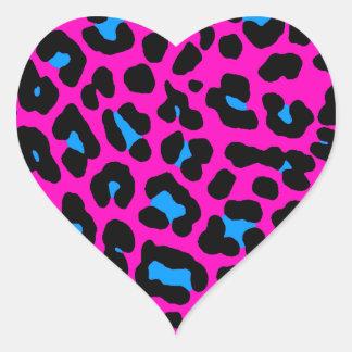 Fläckar för Leopard för Corey tiger80-tal (rosor) Hjärtformade Klistermärken