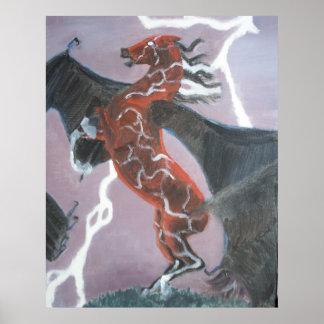 Fladdermöss-påskyndad Pegasus affisch
