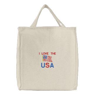 Flagga älskar jag den USA broderade totot hänger l Tygkassar