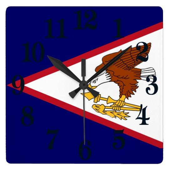 Flagga av American Samoa Fyrkantig Klocka