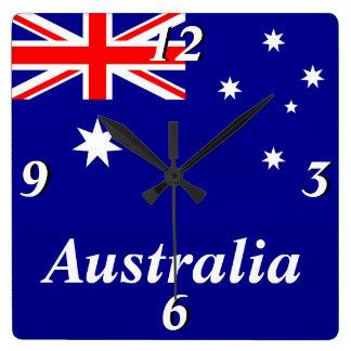 Flagga av Australien Fyrkantig Klocka