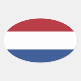 Flagga av av Nederländerna Ovalt Klistermärke