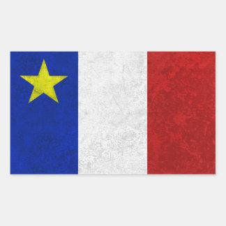 Flagga av bekymrad Grunge för Acadia Rektangulärt Klistermärke