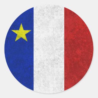 Flagga av bekymrad Grunge för Acadia Runt Klistermärke