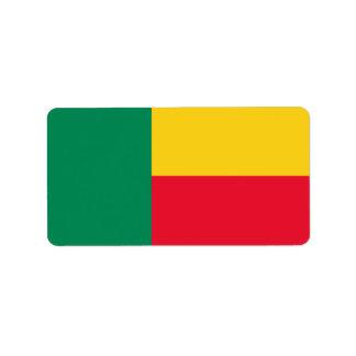 Flagga av Benin etiketter Adressetikett
