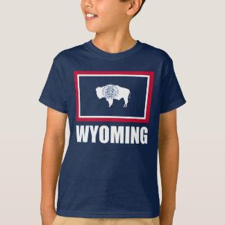 Flagga av blått för Wyoming vittext T-shirt