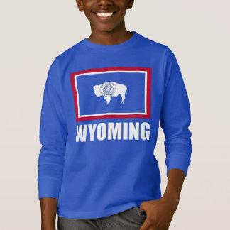 Flagga av blått för Wyoming vittext Tee