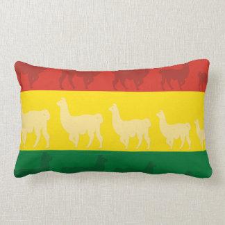 Flagga av Bolivia med Llamas Lumbarkudde