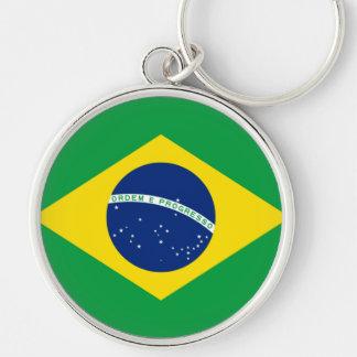 Flagga av Brasilien, brasilian Rund Silverfärgad Nyckelring