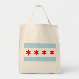 Flagga av Chicago den organiska livsmedeltotot Mat Tygkasse