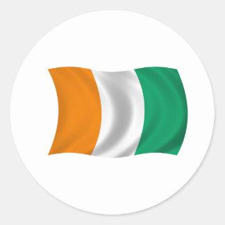 Flagga av Cote d'Ivoire - elfenbenkusten Runt Klistermärke