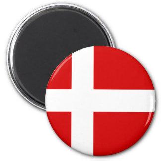 Flagga av Danmark Magnet Rund 5.7 Cm