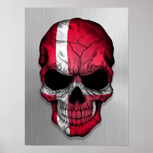 Flagga av Danmark på en grafisk stålsättaskalle Posters