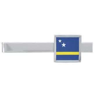Flagga av den Curacao slipshållaren Silverpläterad Slipsnål
