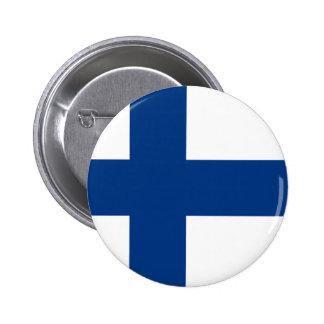 Flagga av den Finland blåttkor på vitemblem Standard Knapp Rund 5.7 Cm