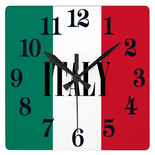 Flagga av den italienItalia italienare Fyrkantig Klocka