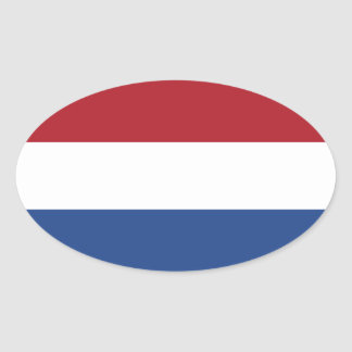 Flagga av den Nederländerna Ovalklistermärken Ovalt Klistermärke