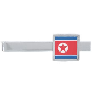 Flagga av den Nordkorea slipshållaren Silverpläterad Slipsnål