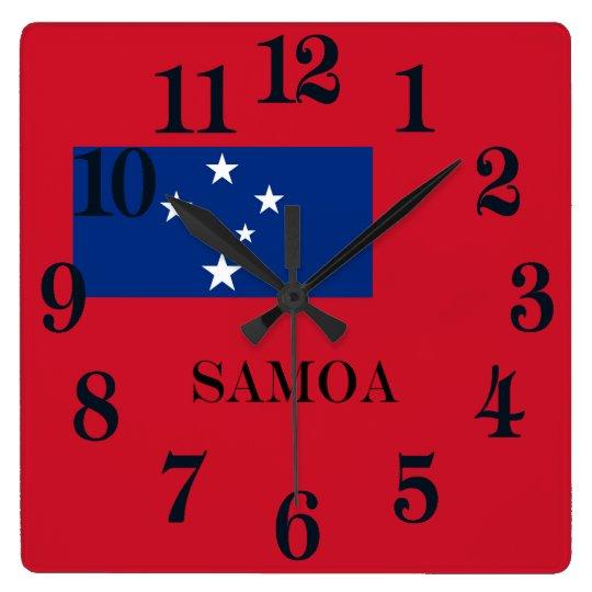 Flagga av den Samoa ön Fyrkantig Klocka