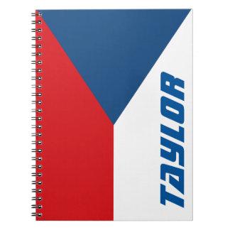 Flagga av den tjeckiska republikpersonligen anteckningsbok med spiral