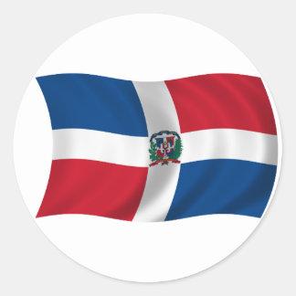 Flagga av Dominikanska republiken Runt Klistermärke