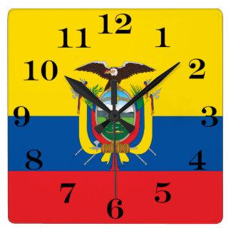 Flagga av Ecuador Fyrkantig Klocka