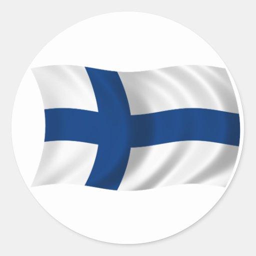 Flagga av Finland Runda Klistermärken