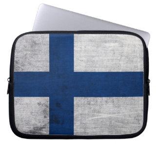 Flagga av Finland Grunge Laptop Sleeve