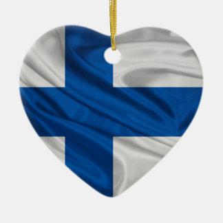 Flagga av Finland Hjärtformad Julgransprydnad I Keramik