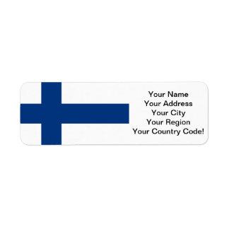 Flagga av Finland Returadress Etikett
