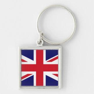 Flagga av Förenade kungariket Fyrkantig Silverfärgad Nyckelring