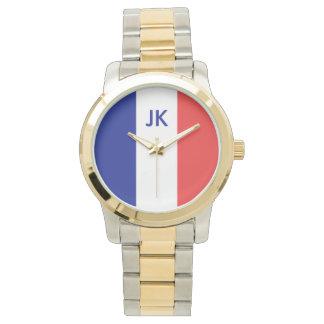 Flagga av frankrikefransk Tricolore Armbandsur