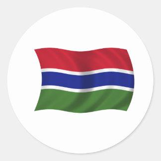 Flagga av Gambia Runt Klistermärke