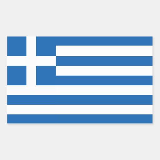 Flagga av Grekland Rektangelformat Klistermärke