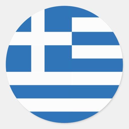 Flagga av Grekland Runda Klistermärken