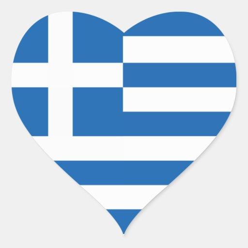 Flagga av Grekland Hjärtklistermärken
