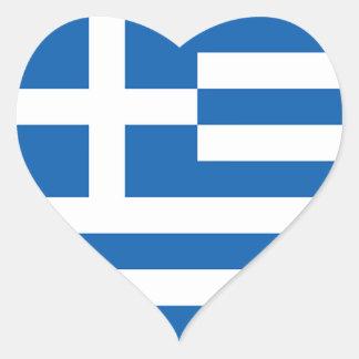 Flagga av Grekland, grek Hjärtformat Klistermärke