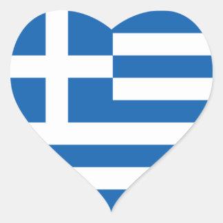 Flagga av Grekland Hjärtformat Klistermärke