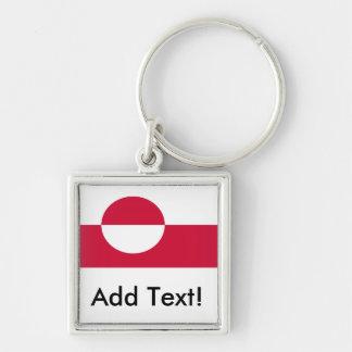 Flagga av Grönlandet Fyrkantig Silverfärgad Nyckelring