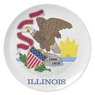 Flagga av Illinois pläterar Tallrik