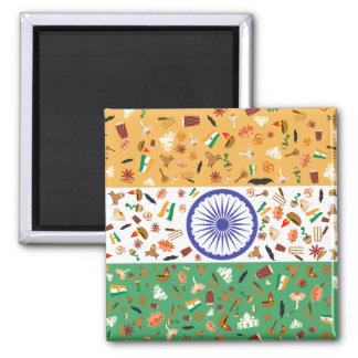 Flagga av Indien med kulturella objekt Magnet