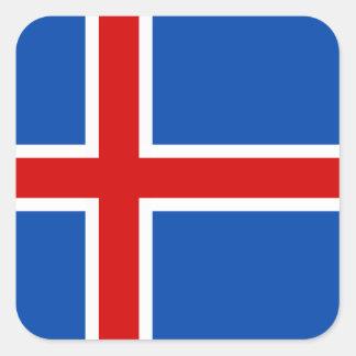 Flagga av islandet fyrkantigt klistermärke