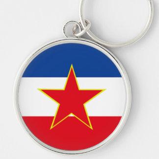 Flagga av Jugoslavien Rund Silverfärgad Nyckelring