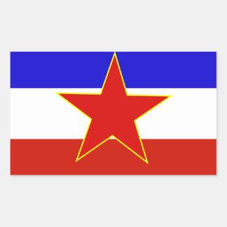 Flagga av Jugoslavien Rektangulärt Klistermärke
