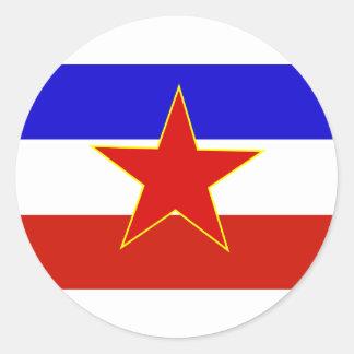 Flagga av Jugoslavien Runt Klistermärke