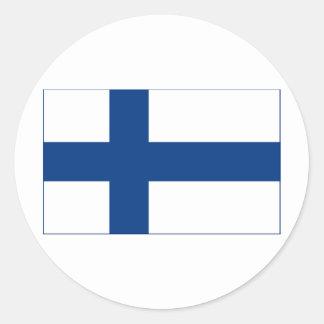 Flagga av kor för Finland blåttnordbo på Rund Klistermärke